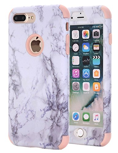 Ankoe iPhone 8 Plus Case, iPhone 7 Plus Case, Marble Stone Pattern Shockproof Full Body Protective Cover Dual-Layer Slim Soft Flexible Silicone and Hard PC for Apple iPhone 7 Plus/8 Plus (Pink)