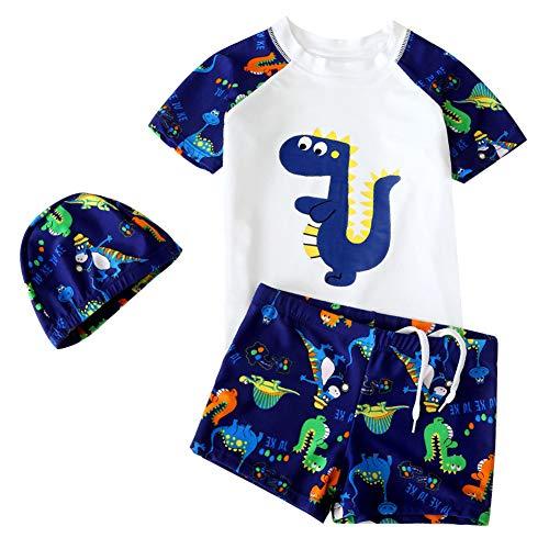 G-Kids Kleinkinder Jungen Bademode Badeanzug Schwimmbekleidung Uv-Schutz Dinosaurier Bade-Set Kurz Tops+Badehose mit Hut (Weiß, 2-3 Jahre)