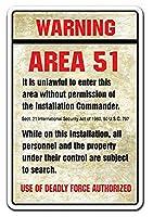 アメリカ雑貨 ブリキ看板 WARNING AREA 51 看板 エリア51 インテリア 雑貨 壁掛け ビンテージ調 ガレージ ポスター ブリキ 看板 おしゃれ