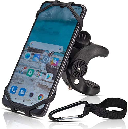 Bike Phone Mount Holder-Universal Clamp, for Bicycle, Stroller, Boat, Golf Cart, Shopping Cart, Fits Apple iPhone, Samsung Galaxy, Google Pixel, LG, HTC, Moto, All Smartphones