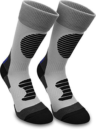 normani 3 Paar Multifunktionale Sportsocken mit Schienbein- & Fußrückenpolster - bestens geeignet als Skating- Inliner- Motorrad- & Trekkingsocken Farbe Grau/Schwarz Größe 43/46
