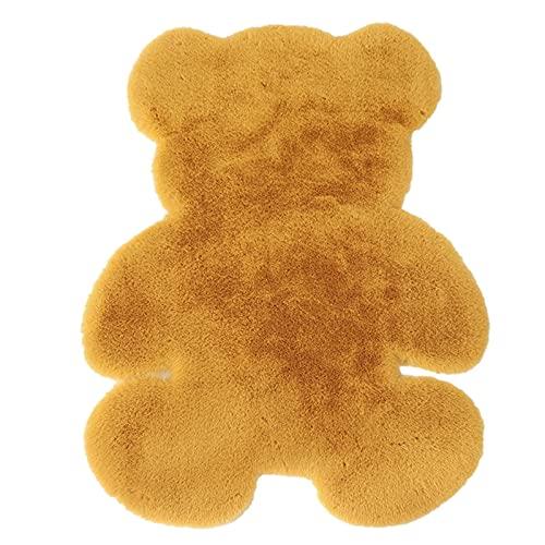 Finetoknow Alfombra de oso de dibujos animados suave alfombra mullida linda alfombra especial forma de oso lanuda alfombra piso felpudos para dormitorio sala de estar decoración del hogar