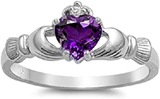 Irish Claddagh Ring: 925 Sterling Silver Purple Amethyst CZ Heart Promise Ring