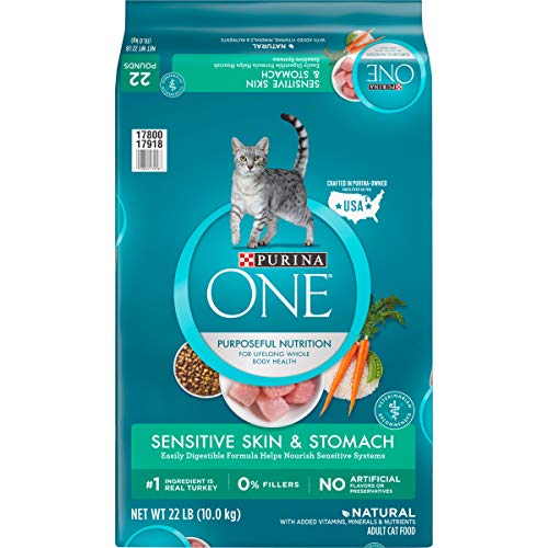 Purina ONE Natural Dry Cat Food, Sensitive Skin & Stomach Formula - 22 lb. Bag