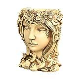 YARNOW - Macetero de resina con cabeza humana, para jardín, interior y exterior