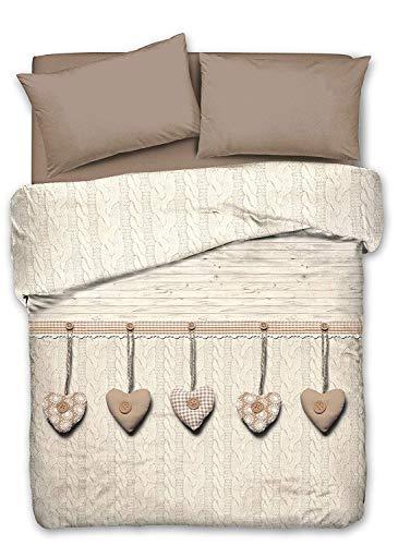 Smartsupershop Tagesdecke Cupido, für Doppelbett, mit Herzen, beige/taupé, aus Jacquard-Baumwolle, hergestellt in Italien