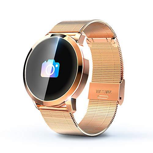 KawKaw Q8A Smart Watch Für Damen und Herren, IP67 wasserdichte Fitnessuhr mit integriertem Fitnesstracker, Pulsmesser, Schrittzähler, Kalorienzähler und Whatsapp, ideale Sportuhr (Edelstahl Gold)