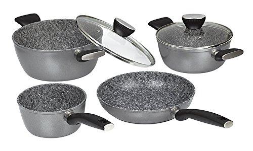 Jata Hogar BC4 Batería de Cocina, Aluminio Forjado, Gris, 24 cm