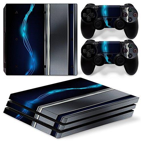46 North Design Ps4 Pro Playstation 4 Pro Pegatinas De La Consola Blue Silver Metal + 2 Pegatinas Del Controlador
