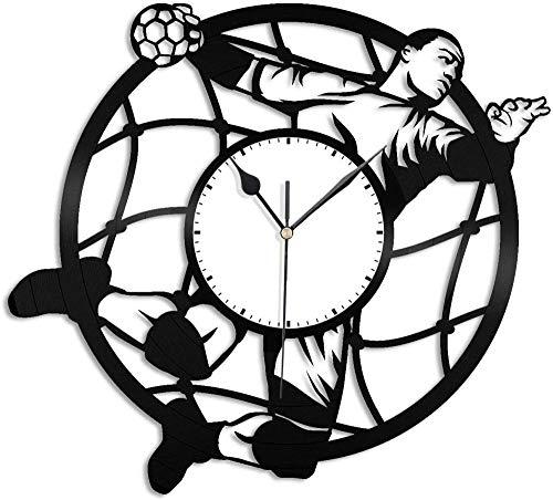 XYVXJ Balonmano 3D Reloj de Pared de Vinilo Reloj de Registro Arte de Pared Decoración de habitación única Regalo Hecho a Mano