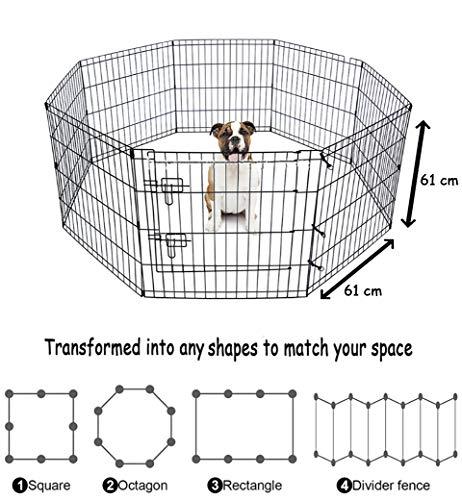 BUNNY BUSINESS - Parque Infantil de 8 Paneles Adecuado para Conejos/guineas/Perros y Gatos, pequeño, Negro