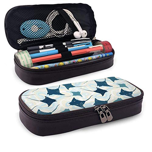 XCNGG Trousse à cosmétiques trousse à crayons Swimming Manta Rays PU Leather Pencil Case School Office Use Zipper Stationery Organizer