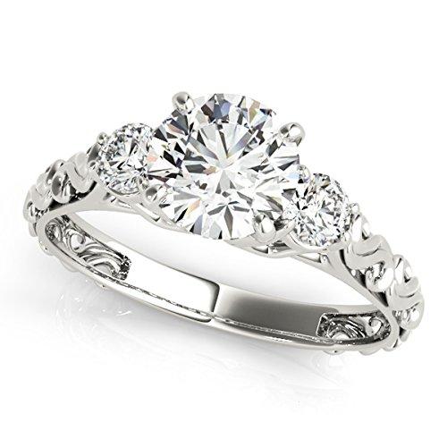 Halo Round Cut Three-Stone Diamond Ring