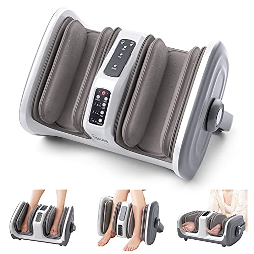 TISSCARE Shiatsu Foot and Calf Leg Massager Machine with Heat and Remote, Deep Tissue Kneading Therapy Air Compression Stress Pain Relief for Plantar Fasciitis, Circulation, White