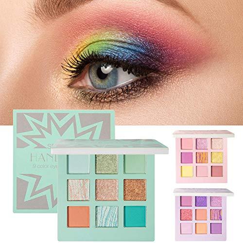earlyad Lot de 9 pinceaux de maquillage pour fard à paupières - Résistants et imperméables - Poudre colorée à haute pigmentation Menthe verte