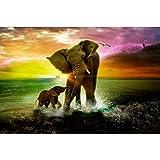 Cartel HD, rompecabezas de madera juguetes para adultos Juego de 1000 hojas pieza niño de 8 años de edad la imagen 3D de arriba regalo niña/El Señor de los Anillos/Elefantes