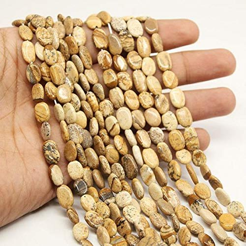 World Wide Gems Beads Gemstone 5 Strand Yellow Picture Jasper Smooth Oval Gemstone Loose Craft Beads Strand Wholesale 13 Inch Long 9mm 11mm Code-HIGH-21372