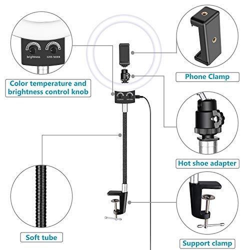 Neewer 8,9 Zoll Webcam-Licht dimmbare USB LED Ringlicht mit flexiblem Ständer und Handyhalter für Logitech Webcam C920 C922x C930e Brio 4K C925e C922e C615 und Smartphone