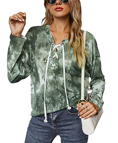Risesun Women Tie Dye Blouses Shirts Lightweight Color Block Drawstring Loose Casual Tops with Pocket (D-Army Green-S)
