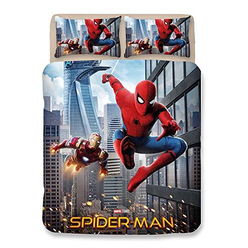 Aatensou - Ropa de cama de Spiderman, funda nórdica y funda de almohada, impresión digital 3D, microfibra, juego de ropa de cama para jóvenes y niñas (2,135 x 200 cm + 50 x 75 cm x 2).