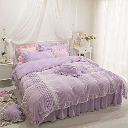 LCFCYY Funda de Edredón,Juego de Funda nórdica Falai de cálido,Funda de Almohada de Ropa de Cama para Dormitorio de niñas,para Cama Individual Doble King Size Purple 1.5mbed 200 * 230cm(4pcs)