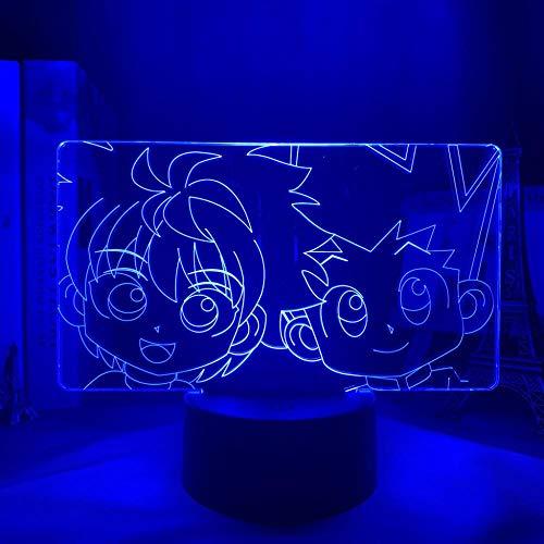 Luz nocturna 3D Anime Hunter X Hunter 3D LED para dormitorio, decoración, regalo de cumpleaños, acrílico, lámpara de noche HXH, linda Killua y Gon ZGLQ