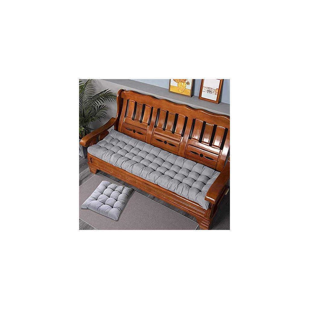 LRuismei Coussin de banc de jardin rectangulaire épais de 8 cm pour 2 ou 3 places, en coton pour chaise longue ou…