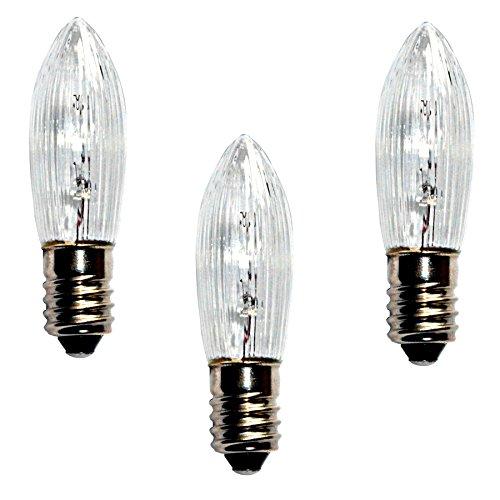 Topkerze Riffelkerze Spitzkerze 23 V / 3W | 3er Set | Ersatzlampe für 10er Schwibbogen/Lichterketten Weihnachtsbeleuchtung etc. | für innen