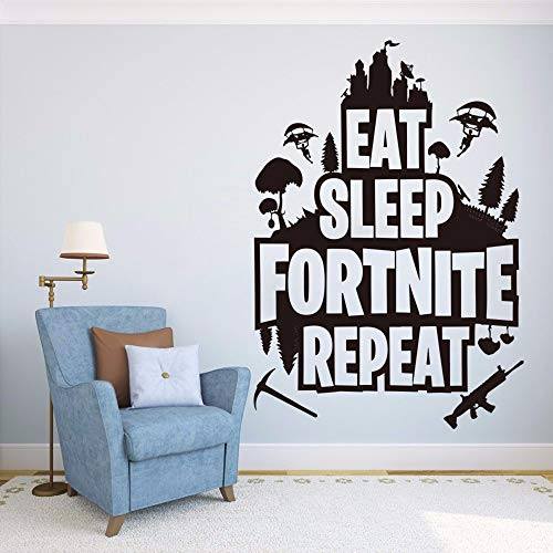 Dtcrzjxh Eat SleepRepeat Quote Wandtattoo Game Er Battle Royale Floss Tänzerin Wandaufkleber Kinderzimmer Teen Spielzimmer 81X56 Cm