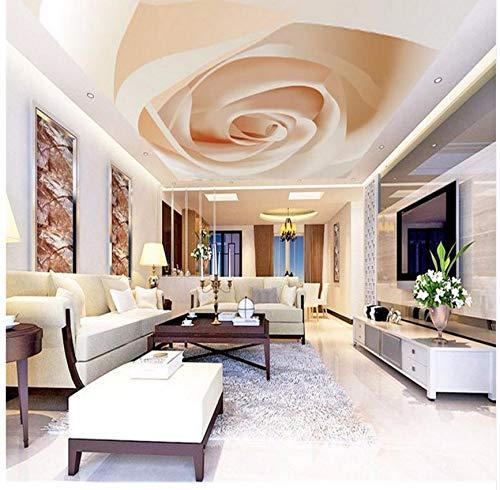 Cczxfcc Gebruikergedefinieerde 3D Moderne decoratieve fotobehang woonkamer grote achtergrond plafond muurschildering luxe Een rozet 3D muurschildering muurschildering 450 cm x 300 cm.