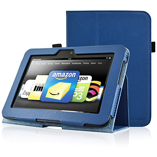 ACdream Case for Kindle Fire HD 7 (2012 Version) ONLY, Folio PU Leather Cover Case for Kindle Fire HD 7(2012 Version) with Auto Sleep Wake Function, Dark Blue