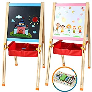Pizarra Magnética Infantil Doble y Ajustable Caballete Pintura con Letras Magneticas Divertido Juguete Madera Educativo Juego de Imaginación Juguete para Niños Niñas 3 4 5 6