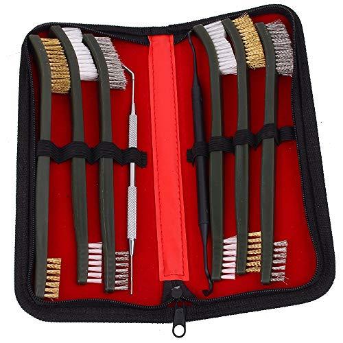 MiOYOOW Kit de Herramientas de Limpieza de Pistola de 8 Piezas, Cepillo de Acero de Nailon con Pico, Cepillo de Limpieza de Pistola Compacto de Doble Punta para Caza