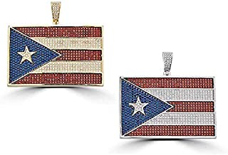 Harlembling Solid 925 Silver Puerto Rico Flag Pendant Boricua Iced Out Pendant for Men Large 1.3x2 Inches