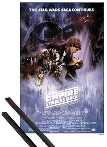 1art1 Star Wars Poster (91x61 cm) Episode V, Das Imperium Schlägt Zurück, Filmplakat Inklusive EIN Paar Posterleisten, Schwarz