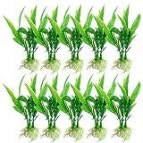 Ogquaton Premium - 10 Unidades de plástico de bambú con Forma de Plantas Hierbas y Agua para Acuario