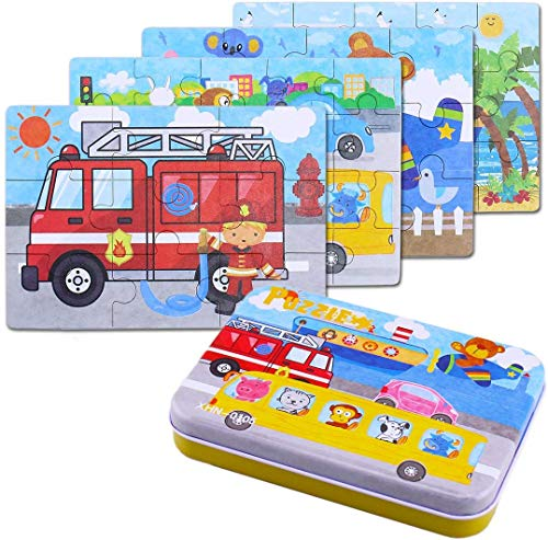 BBLIKE Jigsaw Wooden Puzzles Toy in a Box for Kids, Pack of 4 with Varying Degree of Difficulty Educational Learning Tool...