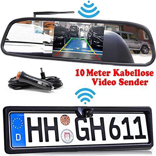 HSRpro Rückfahrkamera mit Nummernschild inkl. Spiegelmonitor - Bis zu 5 Jahre Garantie. Drahtloser Kabellose Funk oder Kabel Vinbindung für PKW KFZ Auto Bus & Transporter - Rear View Camera Kamera