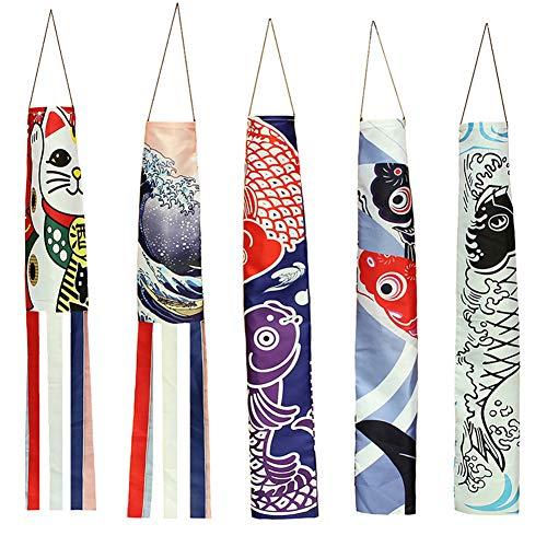 KingbeefLIU Japanische Nobori Koinobori Karpfen Streamer Windsack Fischfahne Drachen Restaurant Dekor Kinder Spielen Haus Früh, Um Spaß Spielzeug Zu Unterrichten 140cm Glückskatze