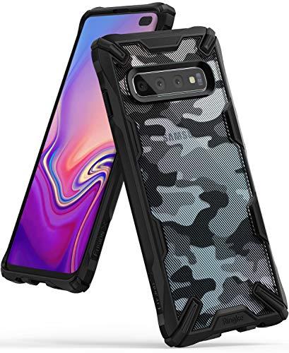 Ringke Fusion-X DDP fürs Galaxy S10 Plus [Camo Black Schwarz] Verbessert Silikon TPU Stoßfest Black Rahmen Militär Muster Schutzhülle fürs S10+