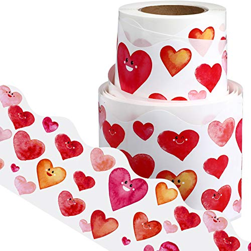 Self Adhesive Water Color Heart Bulletin Board Border Trim Valentine Border Valentine's Day Decorative Sticker for Valentine Party Supplies Classroom Decorations Office Chalkboard, 49.2 ft