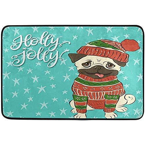 Taoshi Navidad Feliz Invierno Pug Perro Alfombrillas para Puerta al Aire Libre Zapatos Raspador Entrada Frontal Exterior Holly Jolly Felpudo Patio Alfombra Suciedad Escombros Barrera de Barro Mat