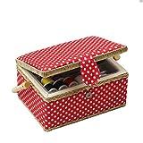 D&D, scatola da cucito con kit da cucito con accessori, cestino organizer in legno con accessori per la casa e per i viaggi, color blu a pois, grande medium Red