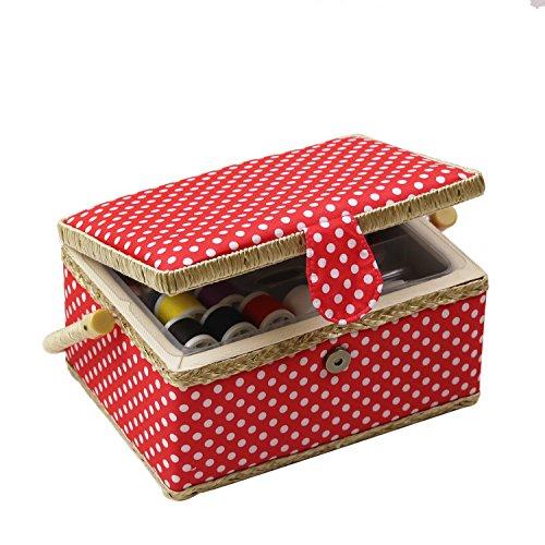 D & D caja de costura cesta organizador con accesorios,