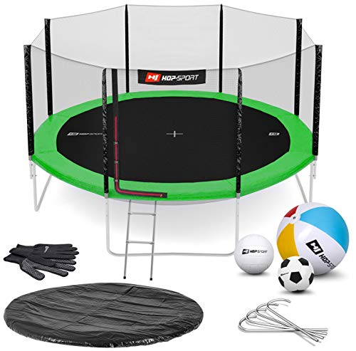 Hop-Sport Trampoline 14 ft Outdoor Garden - Complite Set with Safety Net Ladder Rain Cover Padding + Free Accessories - Green/Outside Safety Net