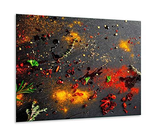 Herdabdeckplatte Ceranfeld 1 teilig 60x52 Gewürze Braun Kochplatten Glas Deko
