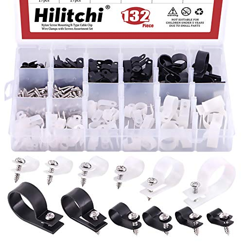 Hilitchi 132 Pcs 6 Sizes Black and White Plastic Cable Clamp R Type Screw Mounting Cord Fastener Cable Clips Assortment Kit with Screws for Wire Management Cable Conduit (Clips from 6mm to 23mm)
