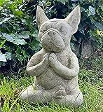 Clmcsf Meditierender französischer sitzender Bulle Hund Statue Skulptur, Hund Statue-Harz Zen Tier Yoga Figur, Bull Dog Ornament Figuren, Ornament Statue Bulldogs Stammbaum Hunde Dekor Figur (Hund)
