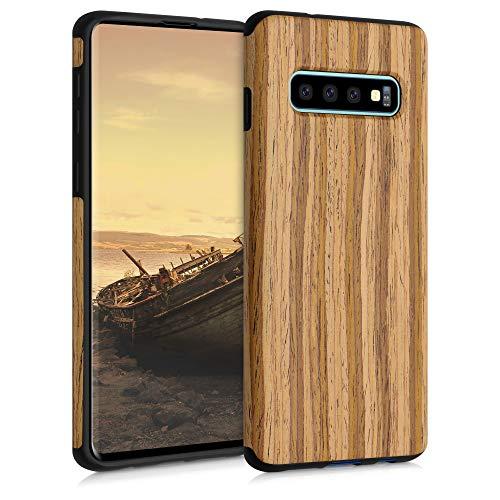kwmobile Hülle kompatibel mit Samsung Galaxy S10 - Holz TPU Hülle Handy Schutzhülle - Backcover Cover Holz Maserung Braun