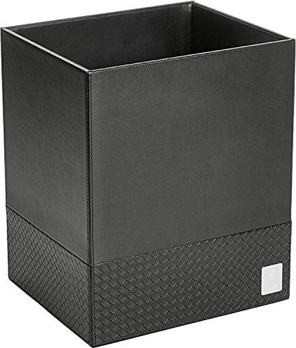 JOOP! Papierkorb bathline schwarz in Leder-Optik mit eleganter Flechtprägung, silberne Logoplakette